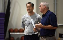 Francisco Kjolseth  |  The Salt Lake Tribune Former Jazz player Jeff Hornacek, left, and Brigham Young University basketball coach Dave Rose chat following a workout by BYU guard Jimmer Fredette with the Utah Jazz on Wednesday, June 15, 2011, at their practice facility in Salt Lake City.