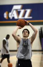 Francisco Kjolseth  |  The Salt Lake Tribune Brigham Young guard Jimmer Fredette works out with the Utah Jazz on Wednesday, June 15, 2011, at their practice facility in Salt Lake City.