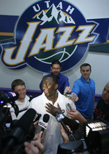 Francisco Kjolseth  |  The Salt Lake Tribune Coach Tyrone Corbin of the Utah Jazz speaks with the media following a workout with several Jazz draft prospects on Wednesday, June 15, 2011, at the practice facility in Salt Lake City.