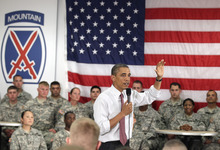 Carolyn Kaster  |  The Associated Press President Barack Obama speaks to soldiers from the 10th Mountain Division, many of whom have just returned from Afghanistan, Thursday, June 23, 2011, in Fort Drum, N.Y.