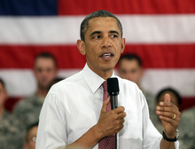 President Barack Obama speaks to soldiers from the 10th Mountain Division, many of whom have just returned from Afghanistan, Thursday, June 23, 2011, in Fort Drum, N.Y.  (AP Photo/Carolyn Kaster)
