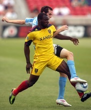 Steve Griffin  |  The Salt Lake Tribune Real Salt Lake's Jean Alexandre tangles with Wilmington's Dylan Riley at Rio Tinto Stadium on Tuesday.