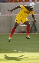 Steve Griffin  |  The Salt Lake Tribune Real Salt Lake's Jean Alexandre leaps high into the air as he heads the ball toward the goal in the game against Wilmington at Rio Tinto Stadium on Tuesday.
