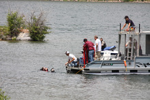 Courtesy Image. Wasatch County search and rescue crews work to locate a 17-year-old boy in the Deer Creek Reservoir.