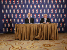 NBA commissioner David Stern, right, and deputy commissioner Adam Silver speak to reporters after a meeting with the players' union, Thursday, June 30, 2011 in New York. Despite a three-hour meeting Thursday, the sides could not close the enormous gap that remained in their positions. (AP Photo/Mary Altaffer)