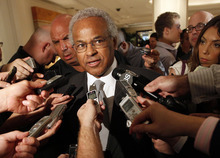 Union chief Billy Hunter speaks to reporters after a meeting with the NBA, Thursday, June 30, 2011 in New York. Hunter says
