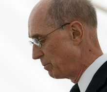 Tribune file photo An emotional Elder Henry B. Eyring, an apostle of The Church of Jesus Christ of Latter-day Saints, speaks during the Mountain Meadows Massacre Memorial near Enterprise in September 2007. The site has been named a national landmark.