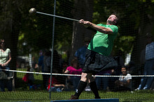 Chris Detrick | The Salt Lake Tribune  Jeff Loosle, of Draper, throws the 22-pound hammer during the Payson Scottish Festival and Highland Games Saturday. The festival celebrates Scottish heritage and traditions.
