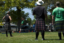 Photo by Chris Detrick | The Salt Lake Tribune  James Martineau, of Pleasant Grove, throws the 22lb hammer during the Payson Scottish Festival and Highland Games on Saturday July 9, 2011. The festival celebrates Scottish heritage and traditions.