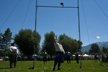 Photo by Chris Detrick | The Salt Lake Tribune  Josh Wiggins, of South Jordan, throws a 56lb weight over a 14' 1