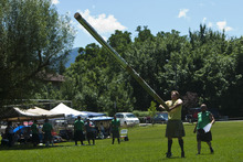 Photo by Chris Detrick | The Salt Lake Tribune  Joe Hansen, of Sandy, competes in the caber toss during the Payson Scottish Festival and Highland Games on Saturday July 9, 2011. The festival celebrates Scottish heritage and traditions.