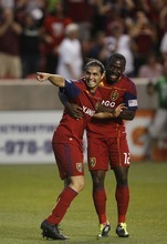 Trent Nelson  |  The Salt Lake Tribune RSL's Fabian Espindola, left, celebrates his late goal with teammate Jean Alexandre. Real Salt Lake vs. FC Dallas at Rio Tinto Stadium in Sandy, Utah, Saturday, July 9, 2011