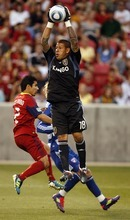 Trent Nelson  |  The Salt Lake Tribune RSL goalkeeper Nick Rimando leaps up for the ball, Real Salt Lake vs. FC Dallas at Rio Tinto Stadium in Sandy, Utah, Saturday, July 9, 2011