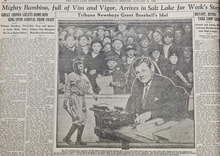 In this early photo illustration published on the sports page of the Jan. 26, 1927 edition of The Tribune, Babe Ruth is shown behind a typewriter while