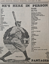 A clipping from The Tribune on Jan. 28, 1927, welcoming Babe Ruth to Utah.