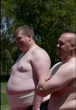 Members of NU Sumo practice with sumos in Idaho Falls. Josh Petersen is on the left. Courtesy of Josh Petersen