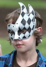 Rick Egan   |  The Salt Lake Tribune  Simon Thomas, 13, Austin, Texas, wears a mask be bought in the Utah Shakespeare Festival's gift shop, Thursday, July 7, 2011.