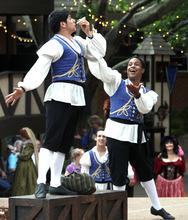 Rick Egan   |  The Salt Lake Tribune  Michael Feldman, left, as Ratsby, and Keenon Hooks as Scum, perform in the Greenshow, Thursday, July 7, 2011.