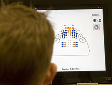 Al Hartmann  |  The Salt Lake Tribune Five-year-old Breyton Banks uses a device called a palatometer in a speech therapy session  at the Comprehensive Clinic on BYU campus.   The custom-fit retainer allows therapists to use computers to watch precisely how kids pronounce words and help them correct their speech in real time on a computer screen.