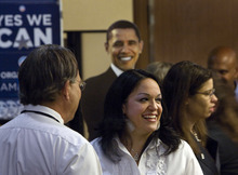Scott Sommerdorf  |  The Salt Lake Tribune Utah Senator Luz Robles, D,-Salt Lake City, speaks with supporters.