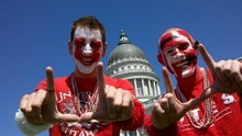 Scott Sommerdorf | The Salt Lake Tribune John Forsyth and Cory Ure celebrate at the state Capitol on Friday as the University of Utah officially becomes a member of the Pac 12.