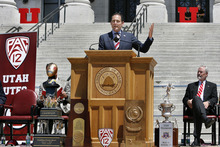 Scott Sommerdorf  |  The Salt Lake Tribune Pac-12 conference commissioner Larry Scott addresses the crowd and officially welcomed the school into the Pac-12 conference, Friday, July 1, 2011. The school ushered it in with a big celebration on the south steps of the State Capitol.