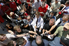 Scott Sommerdorf  |  The Salt Lake Tribune Members of the media descend upon Pac-12 commissioner Larry Scott (below, center) after the ceremony where he welcomed the University of Utah to the Pac-12 conference on Friday, July1, 2011.