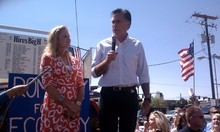 Leah Hogsten | The Salt Lake Tribune Republican presidential hopeful Mitt Romney, appearing with wife Ann at Hires Big H Drive-in in Salt Lake City recently, raised $1.3 million in campaign donations in Utah from April to June.
