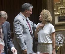 Al Hartmann  |  The Salt Lake Tribune Jackie Biskupski, Utah's first openly gay legislator, right, says goodbye to friend and former Speaker of the House David Clark during the special legislative session Wednesday.