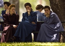 Eldorado - Members of the FLDS church (left to right: Veda Keate, Teresa Jeffs, LeAnn Jeffs, Sarah Draper, Janet Jeffs) wait as a grand jury at the Schleicher County Courthouse Tuesday, July 22 2008 consider charges stemming from the raid on the YFZ ranch. Trent Nelson/The Salt Lake Tribune; 7.22.2008