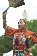 Chris Detrick | The Salt Lake Tribune  Shelly Willie, of Cedar City, dances the side step women's jingle dance during the Native American Cultural Celebration at Liberty Park Monday July 25, 2011.