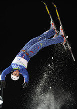FILE - In this Thursday, Feb. 25, 2010, file photo, Jeret Peterson, of the USA, performs his second jump in the men's freestyle aerials final at the Vancouver 2010 Olympics in Vancouver, British Columbia. The Unified Police of Greater Salt Lake say Olympic silver medalist Peterson called 911 before shooting and killing himself on Monday evening, July 25, 2011. (AP Photo/Mark J. Terrill, File)