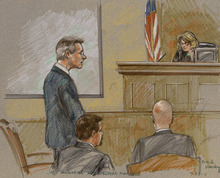 Brigitte Woosley  |  The Associated Press  In this courtroom sketch, polygamist leader Warren Jeffs, standing left, is shown along with 51st District Judge Barbara Walther, right, former lead defense attorney Deric Walpole, bottom left, and lead prosecutor Eric Nichols, bottom right, at the Tom Green County Courthouse in San Angelo, Texas, on Thursday.