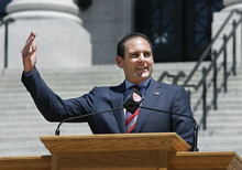 Scott Sommerdorf  |  The Salt Lake Tribune Pac-12 commissioner Larry Scott welcomes the University of Utah and its fans into the Pac-12 Conference, Friday, July 1, 2011. A ceremony was held on the south steps of the Utah Capitol in Salt Lake City.