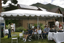 Scott Sommerdorf  |  The Salt Lake Tribune The open house at Olympus Cove resident Bob Frey's home with twenty-two solar panels installed atop his home, Saturday July 30, 2011. Frey projects that with rebates, tax incentives and the sale of excess power, he'll make an 6 percent return on his investment. The Park City company DwellTek installed the system.