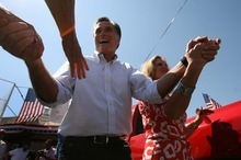 LEAH HOGSTEN | Tribune File Photo Republican presidential hopeful Mitt Romney would destroy Jon Huntsman in a Utah Republican primary, according to a new poll. Romney is shown here making a campaign appearance last month at the Hires Big H Drive-in in Salt Lake City.