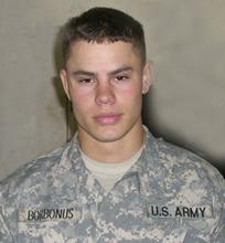 John Borbonus as a soldier. From http://www.veteransmemorialstatues.com/john-george-borbonus/ Courtesy Image