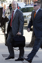 Special Prosecutor Eric Nichols arrives at the Tom Green County Courthouse Monday, Aug. 1, 2011, in San Angelo, Texas. The trial of Warren Jeffs, on trial for two counts of sexual assault of a child, is now in it's second week, originally slated for about a month. (AP Photo/San Angelo Standard-Times, Patrick Dove)