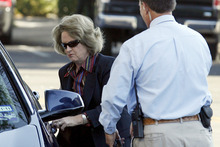 Presiding over the trial of polygamist sect leader Warren Jeffs, 51st District Judge Barbara Walther arrives at the Tom Green County Courthouse Monday, Aug. 1, 2011 in San Angelo, Texas. In a motion filed Monday, Jeffs quoted God as saying state District Judge Barbara Walther should