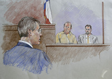 In this courtroom sketch Polygamist religious leader Warren Jeffs, left, J.D. Roundy, center, a member of the Fundamentalist Church of Jesus Christ of Latter Day Saints and his attorney, right, are shown during court procedings in the sexual assault trial against Jeffs at Tom Green County Courthouse Thursday Aug. 4, 2011, in San Angelo, Texas.  (AP Photo/Brigitte Woosley)