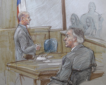 In this courtroom sketch, lead prosecutor Eric Nichols, left, and Texas State Attorney General Greg Abbott, front, are shown during closing arguments in the sexual assault trial against Polygamist Religious Leader Warren Jeffs at  the Tom Green County Courthouse Thursday Aug. 4, 2011, in San Angelo, Texas.  (AP Photo/Brigitte Woosley)