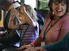 Scott Sommerdorf  |  The Salt Lake Tribune Burn survivor Chloie Workman (6 years old) enjoys the