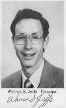 Warren Jeffs is seen in a photo from the 1988 Alta Academy yearbook. He was the principal of the school.