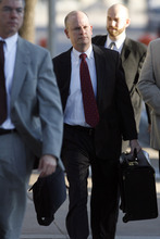 State special prosecutor Eric Nichols arrives at the Tom Green County Courthouse in San Angelo, Texas, on Monday, Aug. 8, 2011. The state may call two more witnesses in the penalty phase in the trial of polygamous leader Warren Jeffs. Jurors convicted Jeffs last week of sexually assaulting two girls, ages 12 and 15, whom he'd taken as brides. He faces up to life in prison. Jeffs has led the Fundamentalist Church of Jesus Christ of Latter-Day Saints since 2002.  (AP Photo/ San Angelo Standard-Times, Patrick Dove)