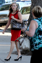 State witness Rebecca Musser arrives at the Tom Green County Courthouse in San Angelo, Texas, on Monday, Aug. 8, 2011, on the 12th day of the sexual assault trial of Warren Jeffs. Musser, a former member of the polygamous Fundamentalist Church of Jesus Christ of Latter-Day Saints, was a wife of Jeffs' father, former FLDS leader Rulon Jeffs, before leaving the sect in 2002. Jurors convicted Jeffs last week of sexually assaulting two girls, ages 12 and 15, whom he had taken as brides. He faces up to life in prison. Jeffs has led the FLDS since 2002. (AP Photo/ San Angelo Standard-Times, Patrick Dove)