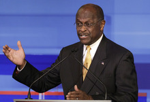 Republican presidential candidate businessman Herman Cain speaks during the Iowa GOP/Fox News Debate at the CY Stephens Auditorium in Ames, Iowa, Thursday, Aug. 11, 2011. (AP Photo/Charlie Neibergall, Pool)