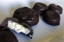Djamila Grossman  |  The Salt Lake Tribune  A view of coconut cream-filled chocolate patties at the home of Christopher and Megan Stubb. Megan has been eating raw for about eight years, Christopher for about five.