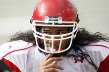 Photo by Chris Detrick   The Salt Lake Tribune  Utah' running back Thretton Palamo is making slow but steady progress in transitioning from rugby to American football.