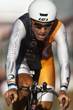 Chris Detrick  |  The Salt Lake Tribune Cesar Augusto Grajales competes during the Stage 3 time trial of the Tour of Utah at Miller Motorsports Park Friday August 12, 2011.