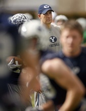 Trent Nelson  |  The Salt Lake Tribune BYU offensive coordinator Brandon Doman at football practice in Provo.